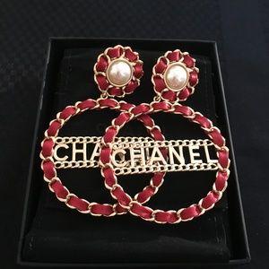 Chanel XL red leather hoop earrings
